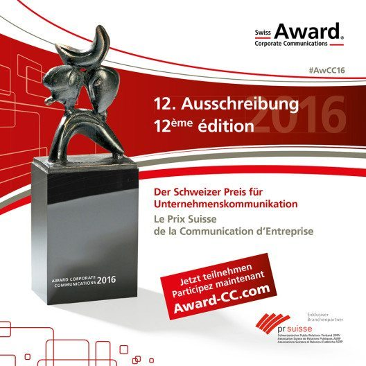 Preisverleihung des Swiss Award Communications ist am 8. September 2016. (Bild: © obs/Award Corporate Communications)